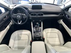Mazda CX-5 has available cream leather interior. Anderson Mazda Rockford, IL