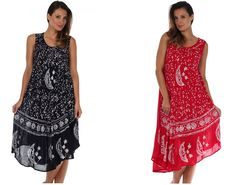 Sakkas sleeveless dress features soft lightweight cotton fabric, relaxed fit and embroidered batik design in beautiful colors. Lightweight cotton fabric and relaxed fit makes this dress perfect for casual wear or a swimsuit cover up.