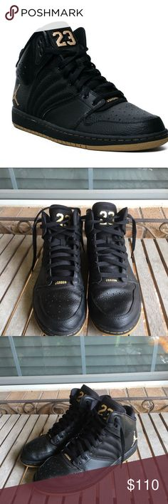 Rare Nike Air Jordan Flight 4 Premium Black Gold NEW!  Nike Air Jordan 1 Flight 4 Premium Black/Gold high Top Sneakers. Basketball shoes. Great condition!  - Size 10 - Black / Metallic Gold - Style # 828818-070 - New without box - 100% Leather Nike Michael Jordans Shoes Sneakers