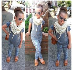 Tee, scarf, floral jeans and mocs. Love it with a long sleeve too for cool weather.
