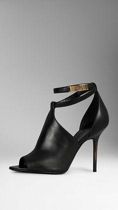 Black Peep-Toe Leather Boots - Image 1