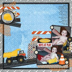 Have fun using the Under Construction Embellishment Biggie to scrap your children's childhood memories or use it to design your own cards, birthday invitations, thank you cards or even table top decorations. The Under Construction Embellishment Biggie is Birthday Scrapbook Layouts, Baby Boy Scrapbook, Scrapbooking Layouts, Scrapbook Pages, Digital Scrapbooking, Design Your Own Card, Kids Pages, Construction Birthday, Birthday Invitations