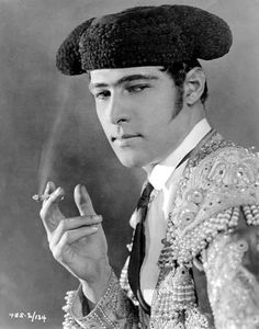 Rudolph Valentino in Blood and Sand, 1922. He was a mega-star in his time, and was mobbed by  women fans whenever he appeared in public.