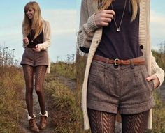Pattern tights, tan cardigan, and high waisted shorts
