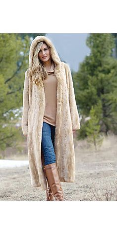 Blonde Mink Faux Fur Full-Length Hooded Coat | Fabulous-Furs: at $699, it's not a gimme, but this looks waaaarm!