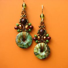 Macrame Beaded Earrings-Chinese Turquoise Donut and Glass Beads, Earthy colors