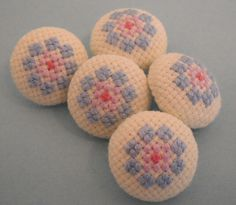 Pale Blue Flower Hand Embroidered Buttons | Flickr - Photo Sharing!