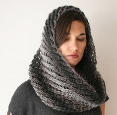 women's scarf  grey gray infinity cowl  handmade by by lolide, $95.00