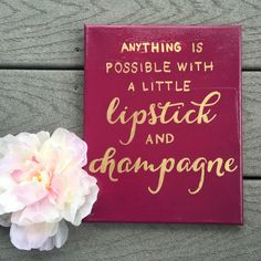 Lipstick and Champagne canvas  8x10 by RealLifePinterest on Etsy