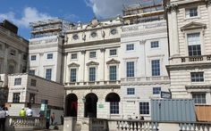 Facade building wrap to cover construction work at Somerset House Pvc Banner, The Scaffold, Outdoor Screens, Library Images, Listed Building, Photo Work, Neoclassical, Optical Illusions, Somerset