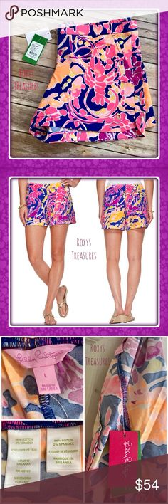 "LILLY PULITZER OCEAN VIEW BOARDSHORTS LILLY PULITZER OCEAN VIEW BOARDSHORTS~ BRILLIANT BLUE CATCH & RELEASE  LIMITED EDITION PRINT ~ SOLD OUT  NEW WITH TAGS ATTACHED  DETAILS  5"" pull on short with slant pockets. These shorts are great for wearing to the beach with a white tank.  Garment Washed, Pull On Short With Front Slant Pockets, Single Back Welt With Stitch Through Pocket Bag And Logo Grommet Detail At Hem. 5"" Inseam. Stretch Poplin - Printed (98% Cotton, 2% Spandex). Machine Wash…"