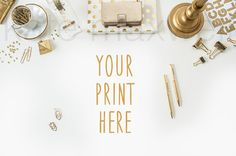 Gold Styled Desktop w/ Polka Dot Gold Pens Earrings by KateMaxShop, $15.00 / Office Styling / Perfect for selling prints, cards, invitations or stationary on Etsy / Stock Photography / Print Background / Graphic Art / Design Background / Custom online shop photography / sell more prints!  www.katemaxwellphotography.com
