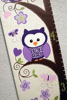 Custom Growth Chart Canvas Purple Owls by SweetDreamMurals on Etsy Baby Painting, Hand Painting Art, Tole Painting, Painting On Wood, Growth Chart Wood, Growth Charts, Painted Wood Crafts, Hand Painted, Growth Ruler