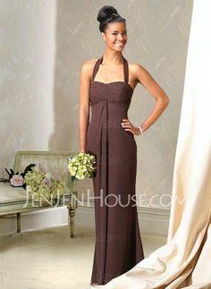 Bridesmaid Dresses - $104.99 - Nice Sheath Halter Floor-Length Chiffon Bridesmaid Dress with Ruffle (007001743) jenjenhouse.com