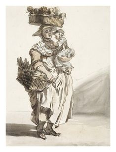 Green vegetable seller: 1759, Paul Sandby. Green vegetable seller. Watercolour and pen drawing. This vegetable seller carries two baskets, one on her head one on her arm and a small child.