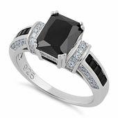 Sterling Silver Emerald Cut Black CZ Ring