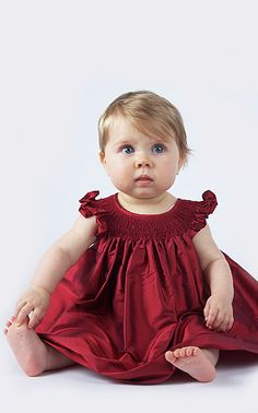 Lovely deep red silk with hand smocking from Baby CZ