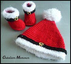 SUR COMMANDE - Ensemble bonnet et chaussons de Noël : Mode Bébé par mamountricote