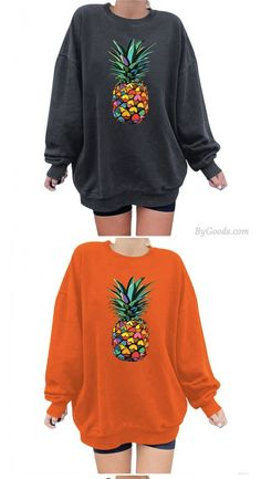 Women's Casual Loose Pullover Round Neck Pineapple Print Sweatshirt Cute Sweaters, Cardigan Sweaters For Women, Ugly Sweater, Long Cardigan, Long Sweaters, Sweater Cardigan, Cheap Cardigans, Boyfriend Cardigan, Holiday Sweater