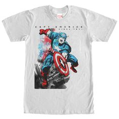Captain America has been saving the world since the Super-Soldier project transformed him into a perfect human specimen on the Marvel Captain America Watercolor Print WHITE T-Shirt. This awesome WHITE Marvel shirt features the American hero, Captain Captain America Comic Books, Captain America Shirt, Marvel Captain America, Sweatshirt Outfit, Sweater Hoodie, Men Sweater, Baggy Hoodie, Aztec Sweater, Hoodie Dress