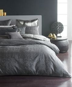 Donna Karan Home Moonscape Reversible Textured Jacquard Charcoal Full/Queen Duvet Cover Bedding Neutral Bedding, Linen Bedding, Bed Linens, Modern Bedding, Baby Bedding, Glam Bedding, Silver Bedding, Grey Duvet, Duvet Bedding