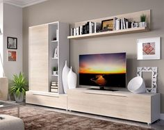 Contemporary Rimobel wall TV unit system in white and natural wood