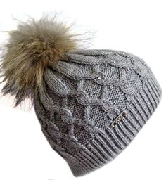 Frost Hats Rhinestones Winter Hat with Detachable Genuine Fox Fur Pom M-023RN Gray *** Read more reviews of the product by visiting the link on the image.