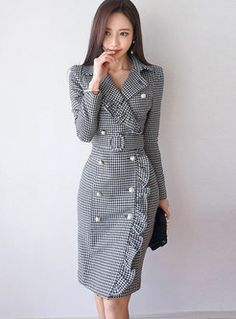 Shop Autumn Notched Houndstooth Double-breasted Sheath Dress at EZPOPSY. Casual Work Dresses, Cute Dresses, Dresses For Work, Elegant Dresses, Sexy Dresses, Fall Dresses, Summer Dresses, Wedding Dresses, Sheath Dresses