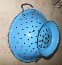 Nice Old Blue Enamelware Kitchen Colandar