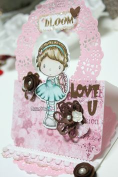 "Made by Cindy Hoesel for Quick Creations. CC Designs stamp ""Rose"". Easel card."