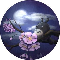 Mini Totoro and the Moon by *Leafye on deviantART