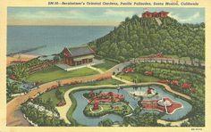 Oriental Gardens, Santa Monica California Linen Vintage Postcard Unused