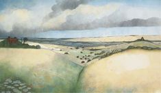 Artist: Edward Burra (1905-1976); Title: 'Landscape near Rye', date unknown; Medium: Watercolour and pencil on paper