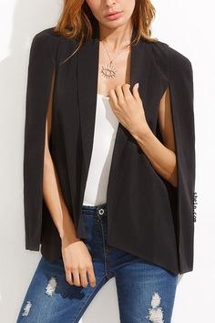 Black Shawl Collar Cape Sleeve Blazer. Very smart! More colors available.