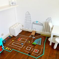 A Washi Tape Toy Car Track