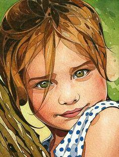 """Child portrait no. -- by Olivier Violin, watercolor ** Watercolor Portrait Painting, Watercolor Face, Portrait Art, Painting & Drawing, Watercolor Trees, Watercolor Landscape, Watercolor Texture, Painting Lessons, Gouache Painting"