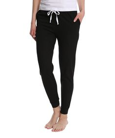 Blis Black Drawstring Pocket Joggers - Women & Plus Fleece Joggers, Sweatpants, Fitness Studio, French Terry, Snug, Pajama Pants, Comfy, Workout, Black