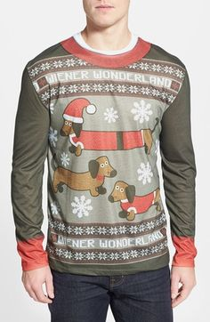 real wiener wonderland ugly christmas long sleeve novelty t shirt men - Nordstrom Christmas Sweaters