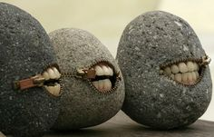 """Stone sculpture by Hirotoshi Itoh,"""" Although I work with various kinds of stones, most of my work consists of optimizing a stone's original shape. I pick up these stones from a river bed in my neighbourhood. While utilizing the image that a stone is hard, I think even from now on I would like to express the warmth and humor."""""""