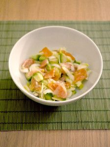 Voici une petite salade très agréable, le pamplemousse se marie très bien avec le reste des ingrédients. - 3 endives - 1 pamplemousse - 2 avocats - 3 tranches de saumon fumé - 1 citron coupez vos endives en petits morceaux. Epluchez le pamplemousse et...