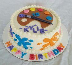 Paint pallette artist birthday cake