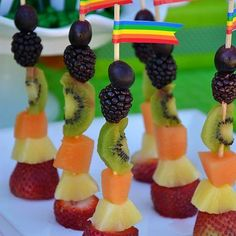 St. Patrick's Day Rainbow Fruit Skewers