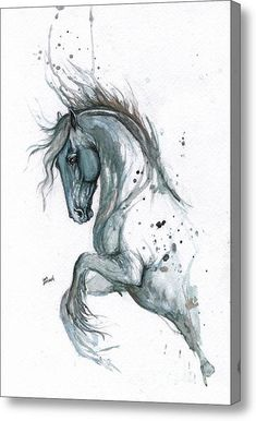 Blue Horse 2014 06 17 Acrylic Print By Angel  Tarantella