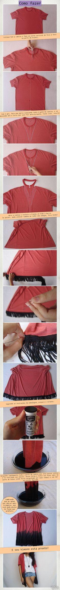 DIY Kimono fashion This is awesome Kimono Fashion, Diy Fashion, Ideias Fashion, Fashion Check, Fashion Ideas, Trendy Fashion, Fashion Trends, Diy Clothing, Sewing Clothes