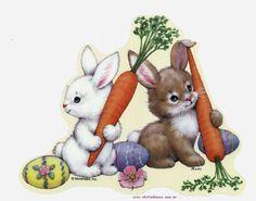 2 bunnies w/carrots