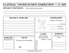 Homeschooling with a Classical Twist: C1 W19 Review Sheet