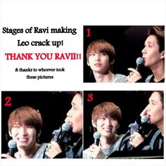 He's so precious! ♡♡ #Vixx #Leo #Ravi <---- And Leo didn't hide his smile from us!!