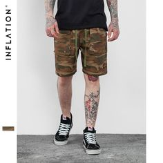 INFLATION Men's Hip Hop Camo Shorts Men High Street Fashion Camouflage Shorts Cargo Casual Camouflage Summer Short Pants