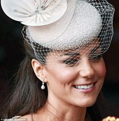 Kate Middleton Duchess of Cambridge Earrings by letitia Middleton Family, Kate Middleton Style, Duchess Kate, Duchess Of Cambridge, Princesse Kate Middleton, Princesa Kate, Pearl And Diamond Earrings, Fascinator Hats, Fascinators