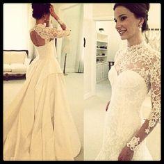 beautiful lace top wedding dress
